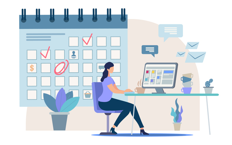 Planning Business Activity, Time Management Flat Vector Concept Businesswoman, Female Office Worker, Company Employee Sitting at Work Desk, Making Tasks and Meetings Reminders in Calendar Illustration (Planning Business Activity, Time Management Flat